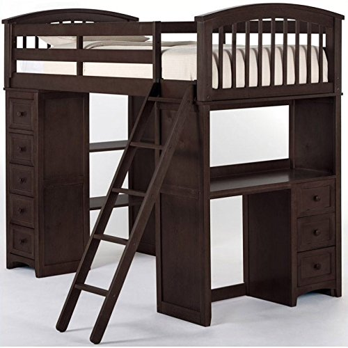 NE Kids School House Student Loft Bed in Chocolate