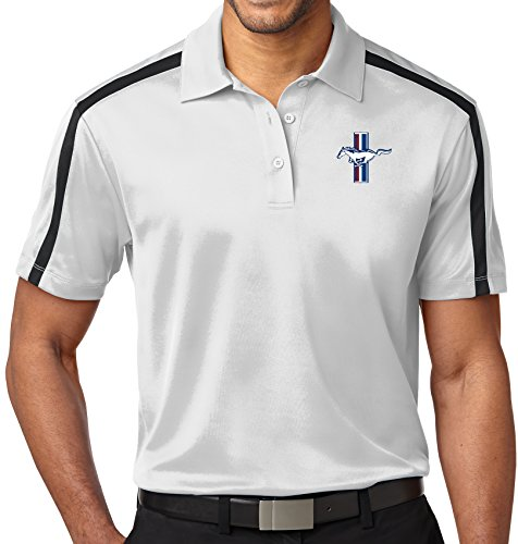 Mens Ford Legend Lives Crest Colorblock Stripe Polo Shirt (Pocket Print), 2XL White/Black from Buy Cool Shirts