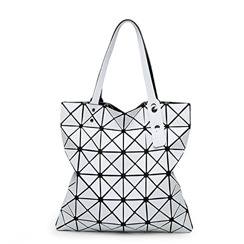Casual Ling White Grid Shoulder Geometric Handbag DarkGray MYLL Women's Folding Fashion Lady Bag YZng6x