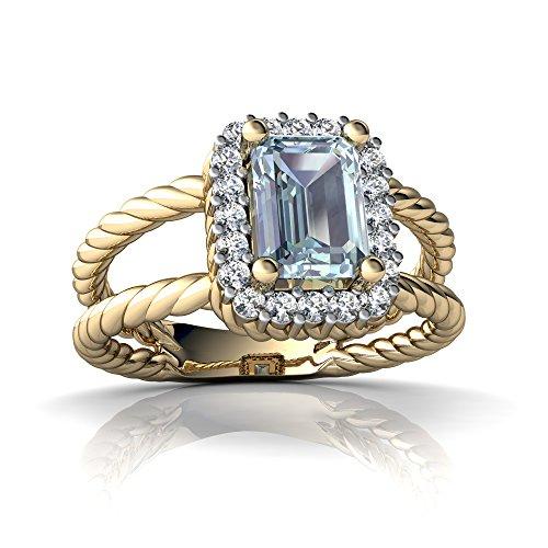 14kt Yellow Gold Aquamarine and Diamond 7x5mm Emerald_Cut Rope Split Band Ring - Size 7