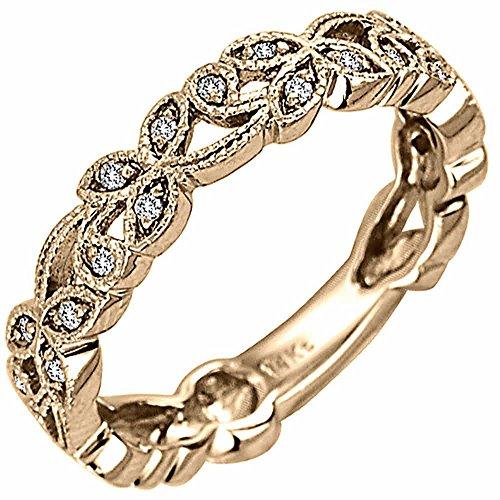 monds 18K Gold Floral Leaf Women's Wedding Band (G-H, SI1-SI2) (4.5mm) Size-5.5c3 (Tdw Diamond Leaf Ring)