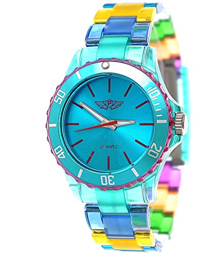 [NY London Rainbow Women Men Plastic Bracelet Watch Colorful Plastic Ladies Watch Mens Watch Wristwatch Turquoise Blue Green Red inclusive Bracelet] (Womens Rainbow Bright Costume)