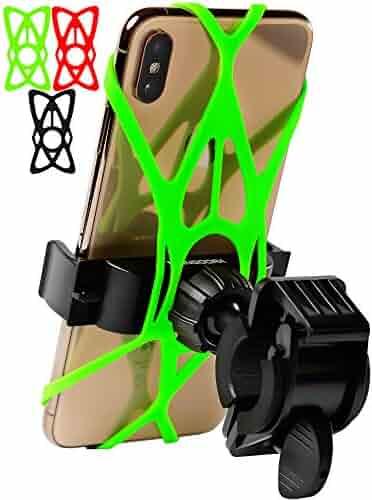 Bike Phone Mount for Any Smart Phone: iPhone X 8 7 6 5 Plus Samsung Galaxy S9 S8 S7 S7 S6 S5 S4 Edge, Nexus, Nokia, LG. Motorcycle, Bicycle Phone Mount. Mountain Bike Mount. Bike Accessories.