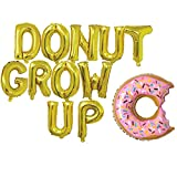 Rose&Wood Donut Grow Up Foil Letter Balloons,Donut Grow Up Theme,Donut Theme Birthday,Donut Theme Party,16'', Gold