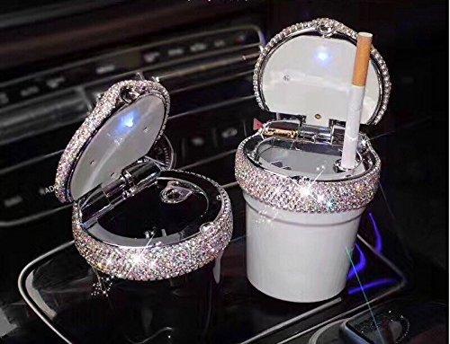 TISHAA Portable Fabulous Dazzling Bling Diamond Cigarette Automotive Ashtray Trash Bin Cylinder Cup Holder w LED Light (Black Bin) (Diamond Cigarette)