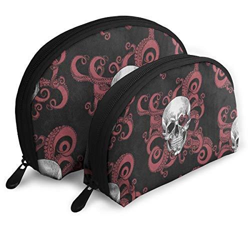 Toiletry Organizer Travel Makeup Clutch Bag Vintage Sugar Skull Octopus Kraken Halloween Portable Bags Pouch Storage Bags]()
