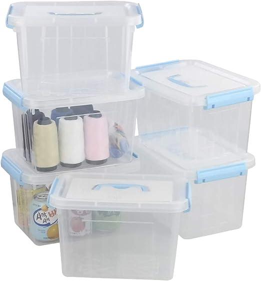 Fosly Caja de PláStico Transparente con Tapa, Pack de 6 Cajas de Almacenaje Apilables: Amazon.es: Hogar