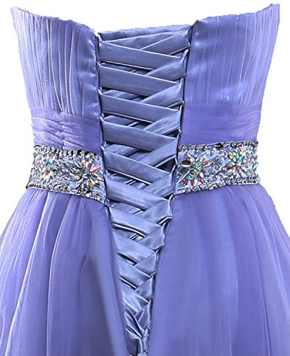 Crystal Schulterfrei Brautjungfernkleides Fanciest for Damen Graduation Kurz Purple Prom w1qwaSE