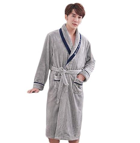 PFSYR Otoño e Invierno Gruesos y cálidos Pijamas camisón, Batas de los Hombres, Color