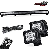"""39"""" Inch Offroad LED Light Bar Spot Flood Combo 252W + 4"""" 18W LED Cube Pods Fog Lamps for Bumper Grill Insert with Remote Switch Wiring Harness fit Jeep GMC Tundra Chevy Tahoe Dodge olaris John Deere"""