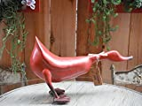 French Country Decor Wood Duck, Model Bordeaux, 16 Inches Length, French Red For Sale