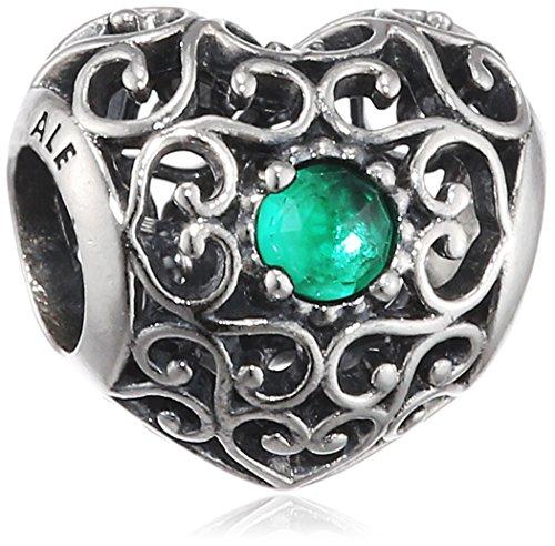 Pandora 791784nrg May Signature Heart Royal-Green Charm May Birthstone Heart Charm