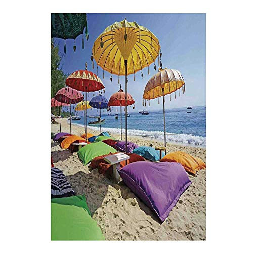 - Balinese Decor Stylish Backdrop,Pristine Beach Bathed by The Bali Sandy Seashore Daytime Umbrellas Pillows Leisure for Photography,59