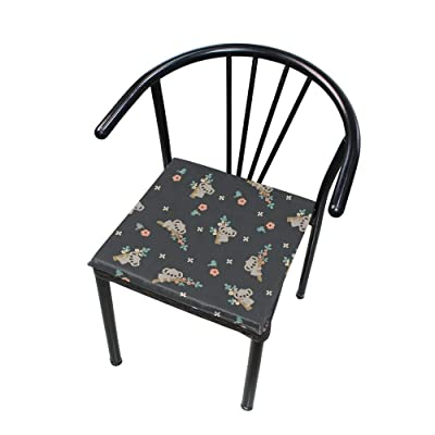 """Bardic HNTGHX Outdoor/Indoor Chair Cushion Koala Floral Tree Square Memory Foam Seat Pads Cushion for Patio Dining, 16"""" x 16"""": Home & Kitchen"""