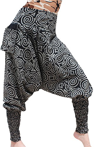 Raan Pah Muang Summer Cotton Print Smock Calf Leg Baggy Mao Pants Hanging Pocket Tights