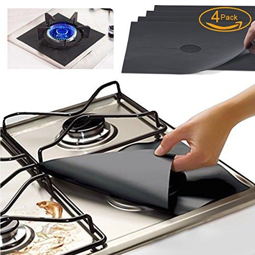 FORHOMER sbc01 Gas Range Protectors, Kitchen Accessories Gas Stove Burner Liners Fda Approved, Reusable, Non-Stick Stove Top Burner Protectors, Set of 4, Black