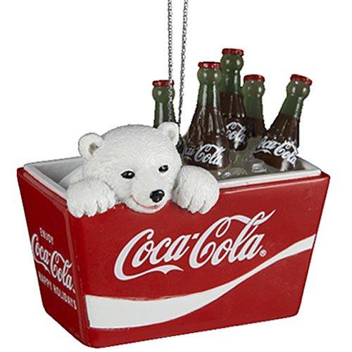 Coca-Cola Kurt Adler Polar Bear Cub in Coke Cooler Ornament, - Cola Coca Christmas