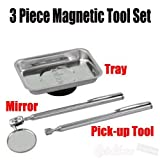 Rolson 3pc Stainles Steel Magnetic Tray Telescopic PickUp Tool + Mirro