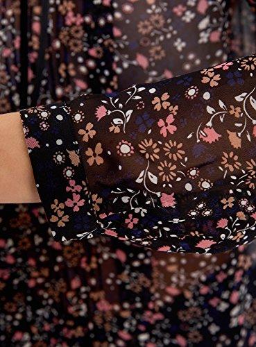 Blouse 2933f Mousseline Volants Noir oodji Ultra Femme en xxEgw