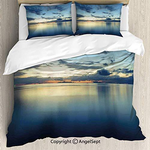 SfeatruAngel Bedding 3-Piece Set Duvet Cover Set,Long Photo of Dramatic Dusk Sunset Over Calm Peace Tropic Azure Lagoon Ocean,Queen Size,Soft Microfiber Wrinkle Fade,Blue ()