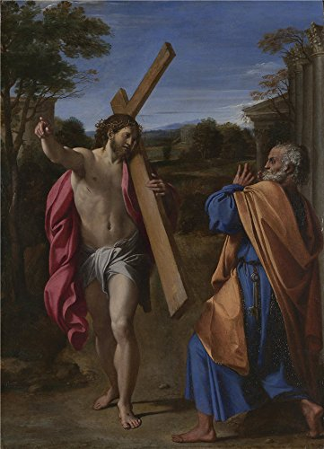 Oil Painting 'Annibale Carracci Christ Appearing To Saint Peter On The Appian Way ' Printing On Perfect Effect Canvas , 16 X 22 Inch / 41 X 56 Cm ,the Best Game Room Decor And Home Gallery Art And Gifts Is This High Definition Art Decorative Prints On Canvas ()