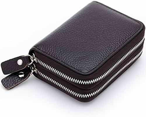 14ffc715fd12 Zando Accordion Style Credit Card Case Holder Genuine Leather Wallet for  Women Girl