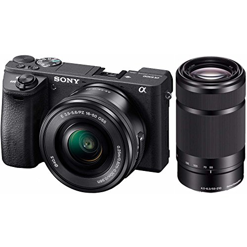 Professional Sony Alpha Dslr (Sony Alpha a6500KIT Mirrorless Digital Camera w/Sony SELP1650 16-50mm + Sony SEL55210B 55-210mm Bundle)