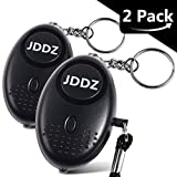 Personal Alarm, JDDZ 140 db Safe Siren Song Emergency Self Defense Protection Device Anti-Rape/Anti-Theft Security With Mini LED Flashlight for Women, Kids and Elderly 2 Pack (Black)