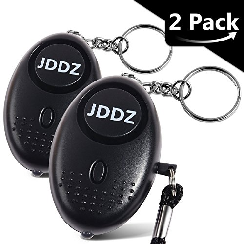 Personal Alarm, JDDZ 140 db Safe Siren Song Emergency Self Defense Protection Device Anti-Rape/Anti-Theft Security Mini LED Flashlight Women, Kids Elderly 2 Pack (Black) ()