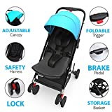 Jovial Portable Folding Baby Stroller – Lightweight, Compact & Foldable for Travel – Includes Storage Bag Cover, Under Basket, Adjustable Seat, Harness Straps & Protective Canopy ( Blue )