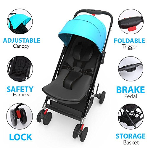 Jovial Portable Folding Baby Stroller Lightweight, Compact Foldable for Travel Includes Storage Bag Cover, Under Basket, Adjustable Seat, Harness Straps Protective Canopy Blue