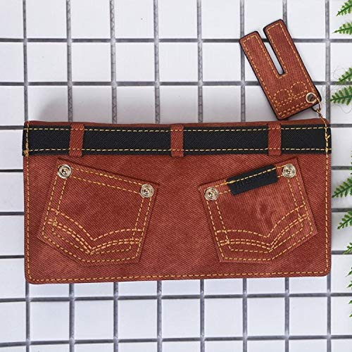 Imitation Denim Long Personality Wallet Multifunction Wallet Wild Wallet Large Capacity Clutch (color   Brown) Ladies Purses (color   Brown)