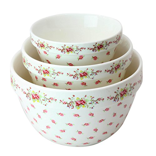 Pantry Size 3-Pc Nested Porcelain Mixing Bowl Set by Grace Teaware. Microwave Safe, Freezer Safe. 3-Sizes 42, 22 and 10-Ounce. (Vintage Rose)