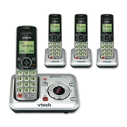 VTech CS6429-4 4-Handset DECT 6.0 Cordless Phone with Answering System and Caller ID, Expandable up to 5 Handsets, Wall-Mountable, Silver/Black Dect 6.0 Four Handset