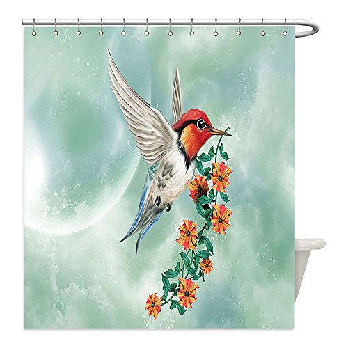 Liguo88 Custom Waterproof Bathroom Shower Curtain Polyester Hummingbirds Decorations A Hummingbird Is Flying with A Flowered Branch Floral Nature Illustration Decor Orange Green Decorative bathroo (Flowered Curtains Red)