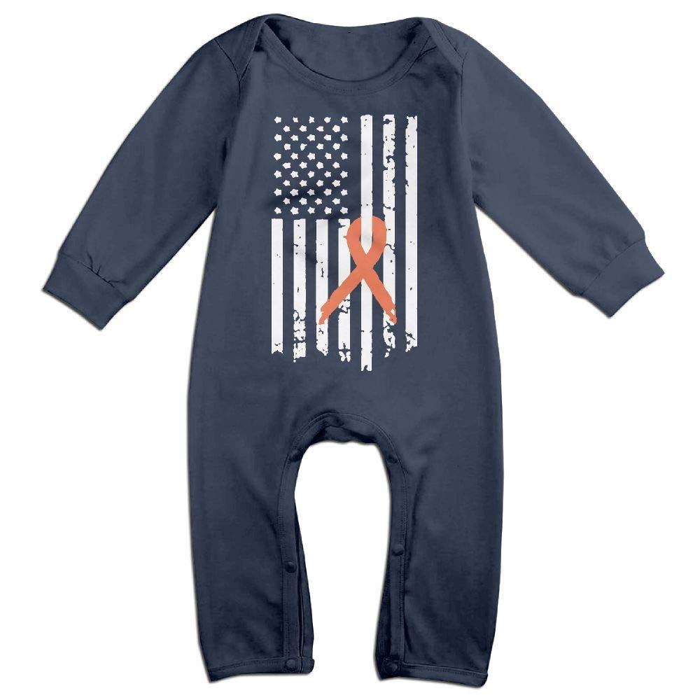 Mri-le1 Baby Boy Girl Long Sleeved Coveralls Kidney Cancer Awareness Flag Kid Pajamas