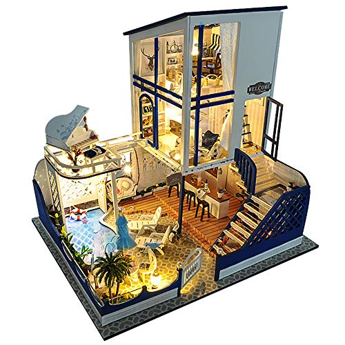 DIY Miniature Kit Dollhouse Set,Wooden Waltz Model Building Toys-Mini Doll House-Creative Birthday Gifts for Boys Girls Women and Friends