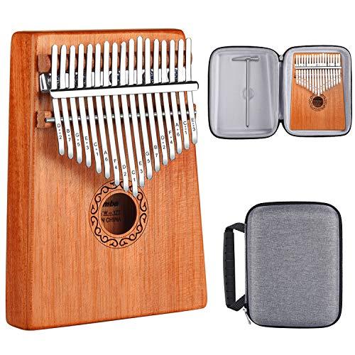 AK 17 Key Kalimba, High Quality Thumb Piano Solid Finger Piano Mahogany Marimba Musical Gift (Mahogany)