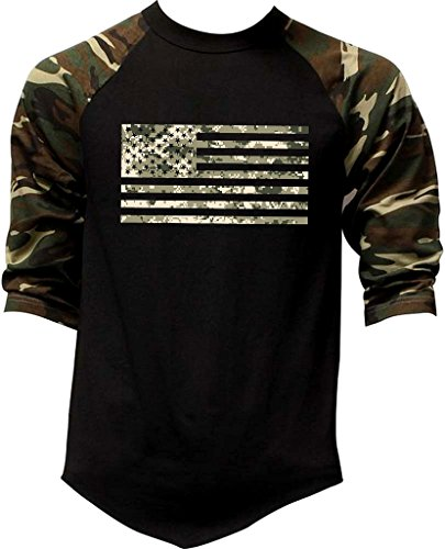 Men's Digital Camo Flag US Army Tee Black/Camo Raglan Baseball T-Shirt 2X-Large Black/Camo (Camo Mens Clothing)