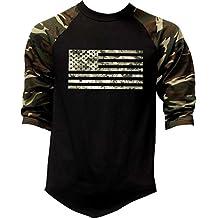Interstate Apparel Inc Men's Digital Camo Flag US Army Tee Black/Camo Raglan Baseball T-Shirt Black/Camo