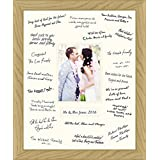 Medium 12x16 Wedding Guest Signing Board Solid Oak Wood Frame (Cream, Portrait Rectangle with Text Field) by BabyRice