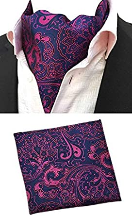 MOHSLEE Mens Purple Paisley Floral Cravat Neckties Silk Ascot Pocket Square Set