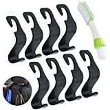 8 Pack Car Vehicle Seat Headrest Hook Hanger, SENHAI Strong Durable Organizer Storage Holder for Grocery Bag Purse Handbag Water Bottle, with Car Air Conditioner Brush - Black