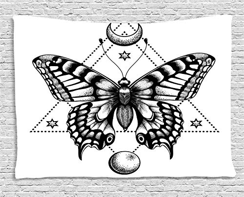 YouXianHome Magic Moon Tapestry Abstract, Detailed Drawing Mystical Butterfly with Triangles and Stars, Dorm Decor for Living Room Bedroom, 90 W x 60 L Inches, Dark Night Blue and White]()