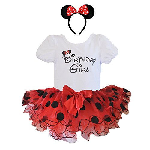 1st 2nd 3rd 4th 5th 6th Birthday Girl Shirt with Polka Dot Tutu and Headband 3 PCs Outfit Set (Age 6, Red and Black) ()
