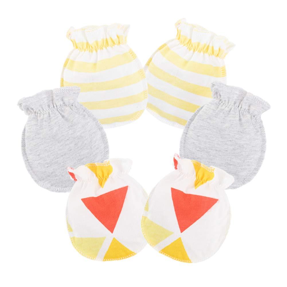 Scrox 3X Guantes de bebé 100% algodón Manopla de Tricot para recién ...