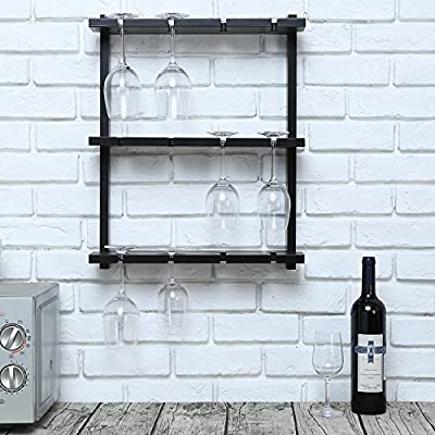 MyGift Wall-Mounted Wood 12 Wine Glass Holder Rack, Inverted Stemware Display