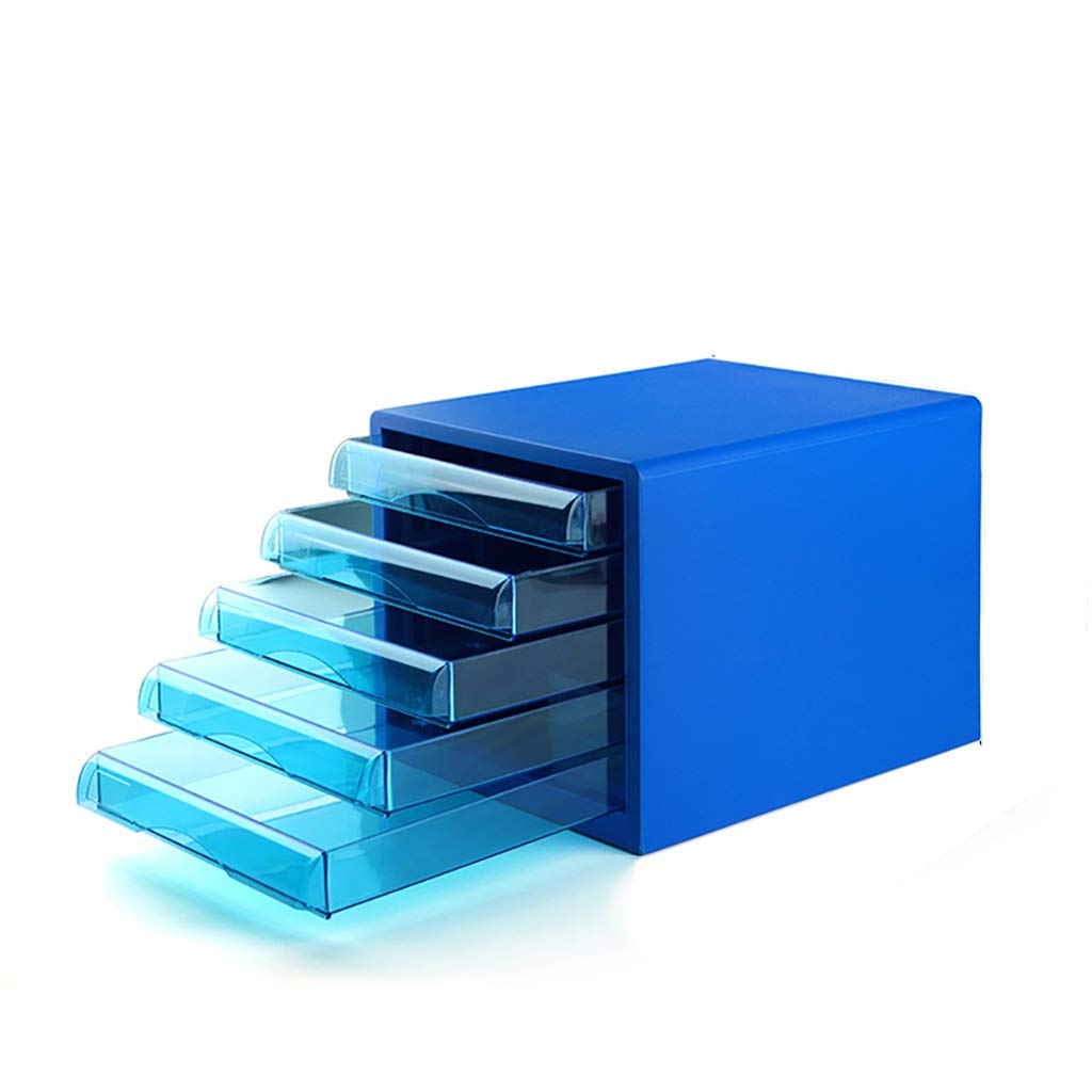 ファイルキャビネットプラスチックデスクトップロッカーファイルボックス5階引き出しタイプブルー B07MR3JQ7Y