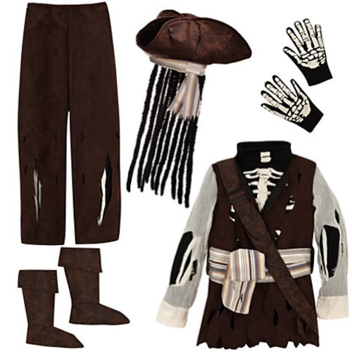 Disney Store Deluxe KIDS Boney Pirates of the Caribbean Glow in the Dark Costume (XS 4 Extra Small)