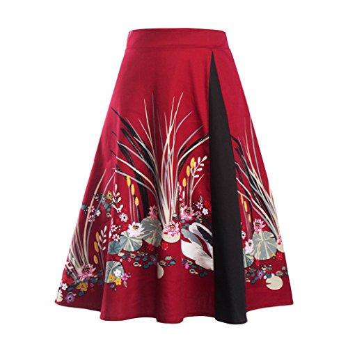 Eudolah Jupe midi style vintage  imprim des fleurs/uni swing annes 50 Femme Cygne Rouge 2-p